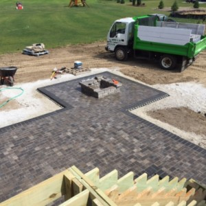 Brick Patio Installation with Fire Pit in Pewaukee, Wisconsin